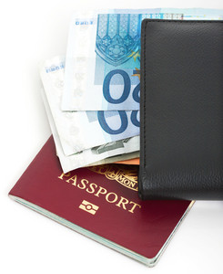 Euros In A Wallet And Passport