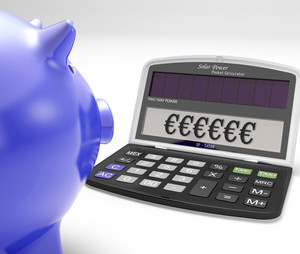 Euros In Calculator Shows Currency And Investment