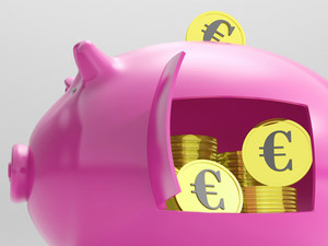 Euros In Piggy Shows Currency And Investment