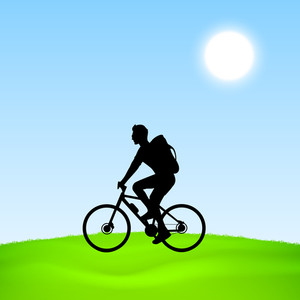Evening Summer Concept With Silhouette Of A Man Riding A Bicycle