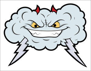 Evil Cloud Comic Vector Illustration