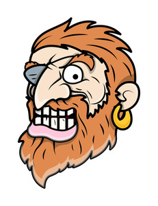 Evil Eye Patched Beard Pirate Man - Vector Cartoon Illustration