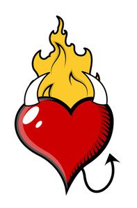 Evil Heart Burning In Flame - Vector Illustration