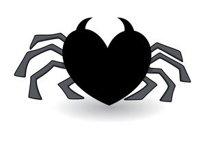Evil Heart Shaped Spider - Halloween Vector Illustration