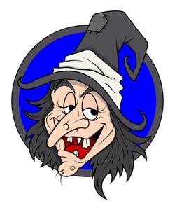 Evil Witch Smiling Vector Illustration