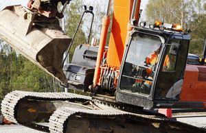 excavating bulldozer in action