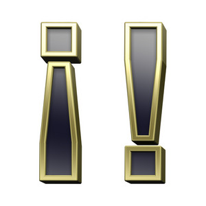 Exclamation Mark From Black With Gold Shiny Frame Alphabet Set