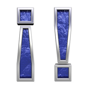 Exclamation Mark From Blue Glass Cast Alphabet Set