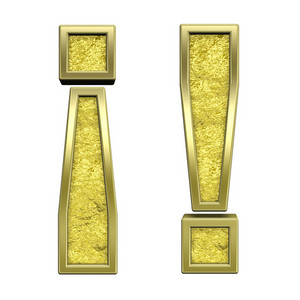 Exclamation Mark From Gold Cast Alphabet Set