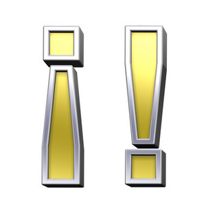 Exclamation Mark From Gold With Chrome Frame Alphabet Set