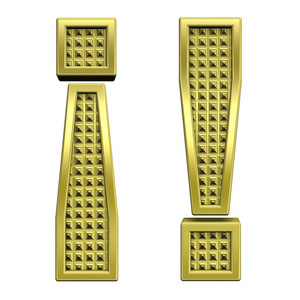 Exclamation Mark From Knurled Gold Alphabet Set