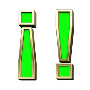 Exclamation Mark From Light Green With Gold Frame Alphabet Set