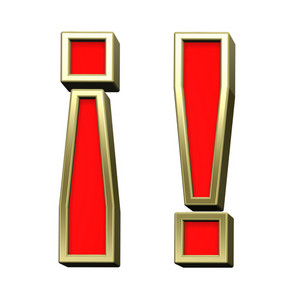 Exclamation Mark From Red With Gold Shiny Frame Alphabet Set