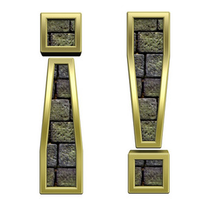Exclamation Mark From Stone With Gold Frame Alphabet Set