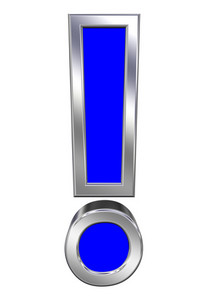 Exclamation Mark Sign From Blue With Chrome Frame Alphabet Set