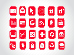 Exclusive Series Of Web Icons In Red