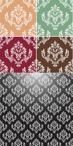Exotic Decorative Designs Of Floral Damask Elements