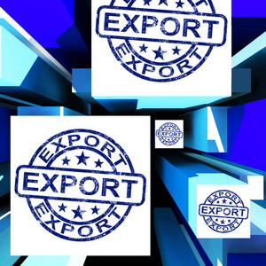 Export On Cubes Showing Worldwide Shipping