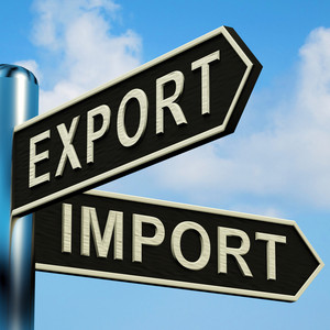 Export Or Import Directions On A Signpost
