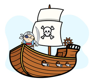 Eye Patched Captain Pirate On Pirate Ship - Vector Cartoon Illustration