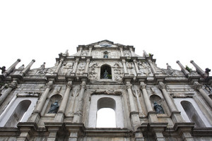 Facade of ruined church of St Paul. Macau. China isolated on white background
