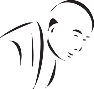 Face Of A Bald Monk.