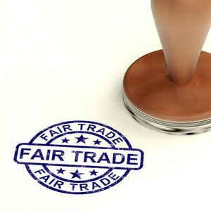 Fair Trade Stamp Shows Ethical Produce And Products
