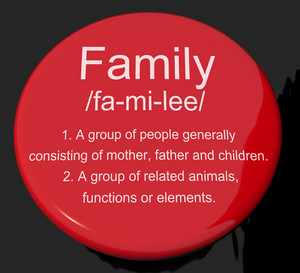 Family Definition Button Showing Mom Dad And Kids Unity