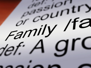 Family Definition Closeup Showing Mom Dad Unity