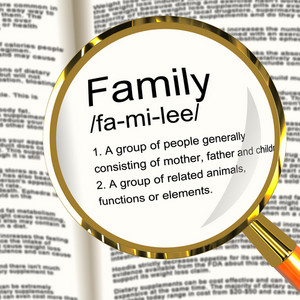 Family Definition Magnifier Showing Mom Dad And Kids Unity