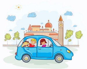Family Going For A Ride Vector Illustration