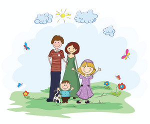 Family In The Park Vector Background