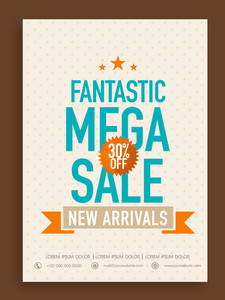 Fantastic Mega Sale poster banner or flyer design with 30% discount offer on new arrivals.