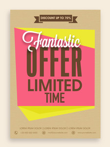Fantastic offer for limited time flyer banner or template design with best discount for your business.