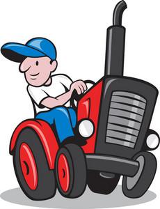 Farmer Driving Vintage Tractor Cartoon