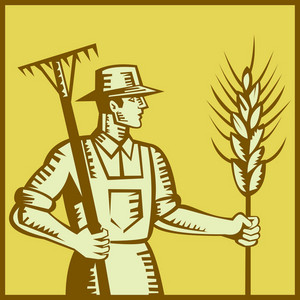 Farmer With Rake And Wheat Woodcut