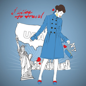 Fashion Autumnal Girl In A Coat In Sketch-style On A Usa-background. Vector Illustration.
