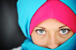Fashion blue and pink hijab
