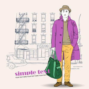 Fashion Boy In On A City-background. Vector Illustration.