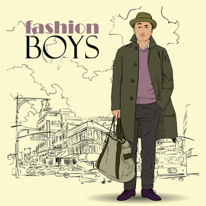 Fashion Boy In Sketch-style On A City-background. Vector Illustration.