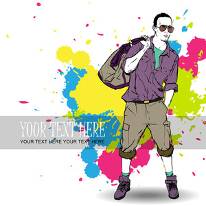 Fashion Boy With Bag And Glasses In Sketch-style On A Grunge-background. Vector Illustration.