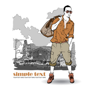 Fashion Boy With Bag And Glasses In Sketch-style On A Megapolis-background. Vector Illustration.