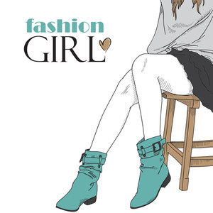 Fashion Girl In Blue Boots. Vector Illustration.