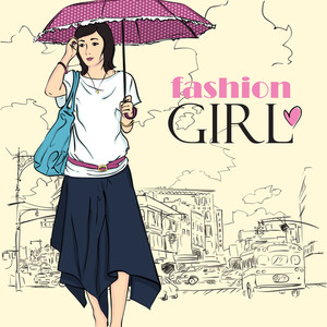 Fashion Girl In Sketch Style On A City-background.
