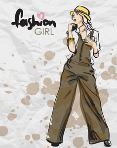 Fashion Girl In Sketch-style On A Paper-background. Vector Illustration.