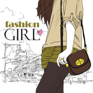 Fashion Girl In Sketch-style On A Town-background. Vector Illustration.