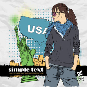 Fashion Girl In Sketch-style On A Usa-background. Vector Illustration.