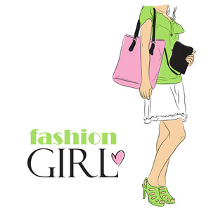 Fashion Girl In Sketch-style.vector Illustration.