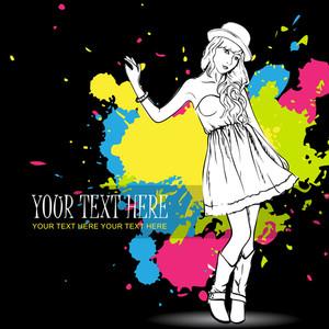 Fashion Girl On A Grunge Background. Vector Illustrator.