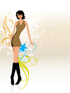Fashion Girl On Ornate Background